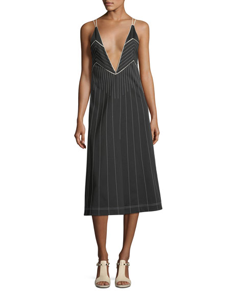 Image 1 of 3: Valentino Plunging Sleeveless Jersey Dress with Contrast Topstitching