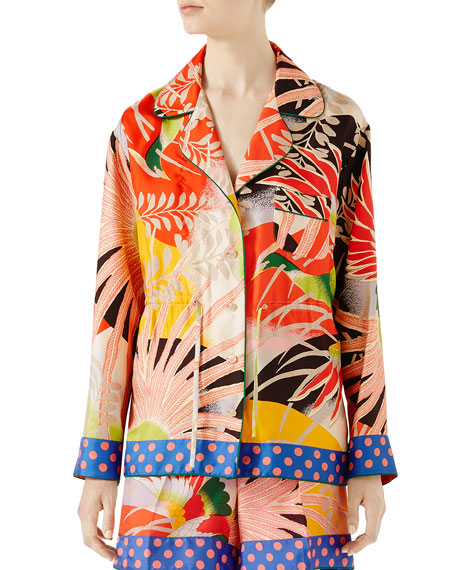 Tropical Bird-Print Pajama Shirt