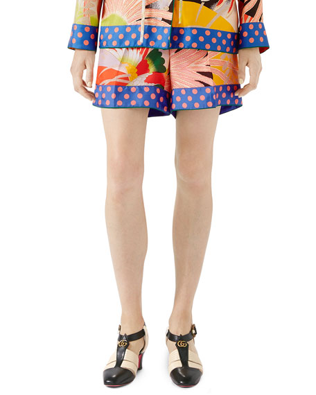 Tropical Bird-Print Silk Shorts