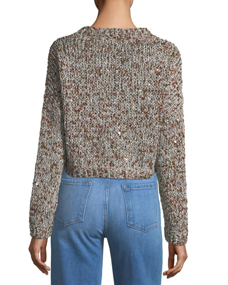 Waxed Tweed Cropped Snap-Front Cardigan