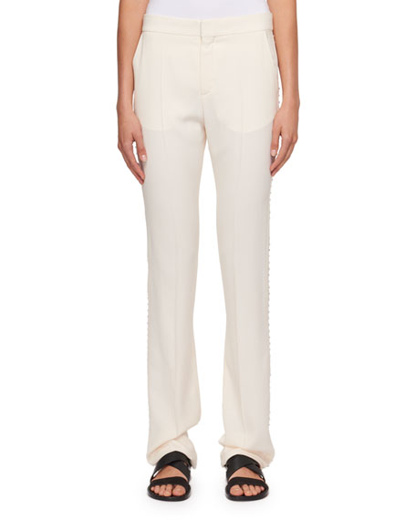 Chloe Cady Straight-Leg Pants with Rhinestone Embroidery