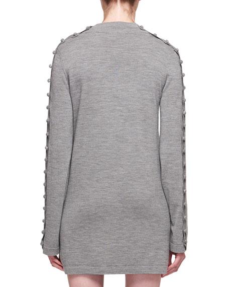 Mock-Neck Long-Sleeve Merino Wool Tunic Dress