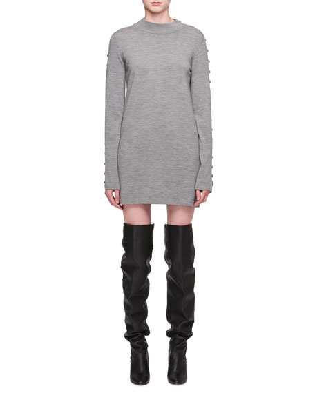 Chloe Mock-Neck Long-Sleeve Merino Wool Tunic Dress
