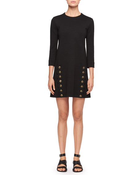 Chloe Crewneck 3/4-Sleeves Straight Wool Dress with Button-Detail