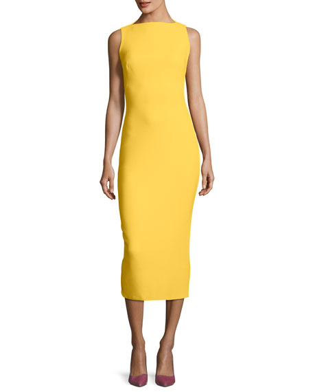 Sleeveless Boat-Neck Double-Face Crepe Sheath Midi Dress