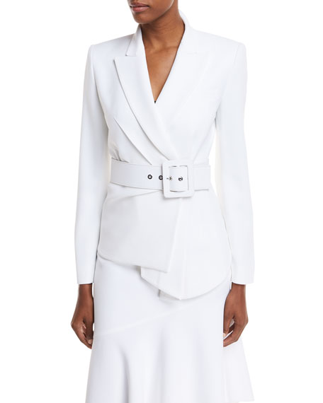 Michael Kors Collection Draped Crepe Blazer w/ Belt