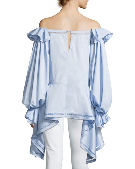 Off-the-Shoulder Stretch Cotton-Poplin Top