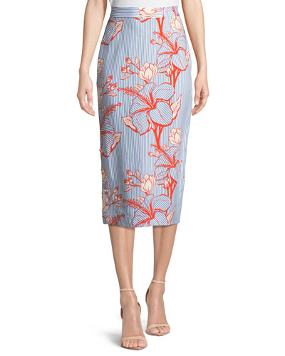 Linear Floral-Printed Crepe Pencil Skirt