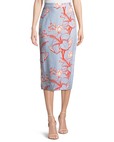 Lela Rose Linear Floral-Printed Crepe Pencil Skirt