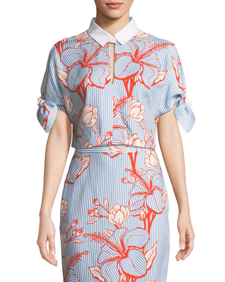 Lela Rose Linear Floral-Print Crepe Tie-Sleeve Crop Top