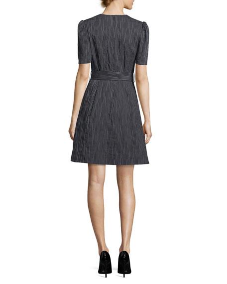 V-Neck Short-Sleeve Belted Striped Crinkle Cotton Dress