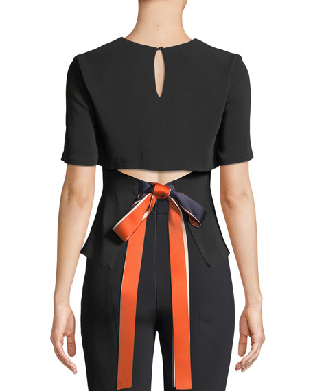 Adia Short-Sleeve Open-Back Blouse with Ribbon Detail