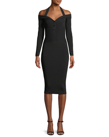 Cushnie Et Ochs Laia V-Neck Long-Sleeve Fitted Knit