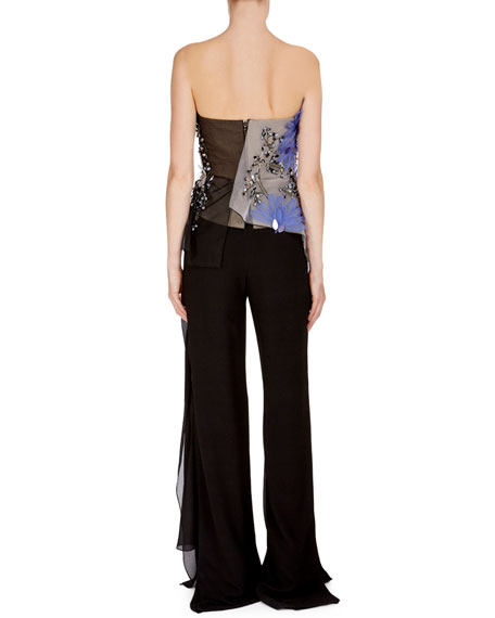 Roland Mouret Hempton Floral-Embroidered Sequined Bustier Top