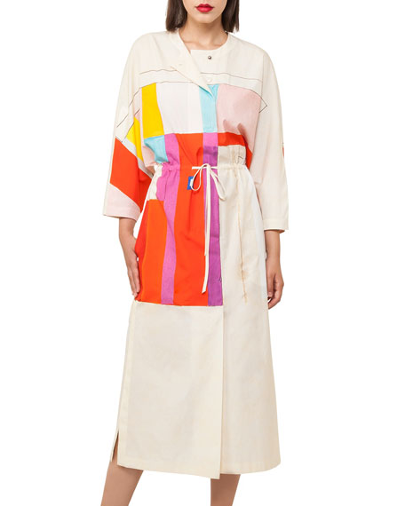 Mural-Print Muslin Kimono Dress
