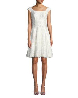 38e273f5cc Zac Posen V-Neck Cap-Sleeve Gathered Silk-Blend Midi Dress