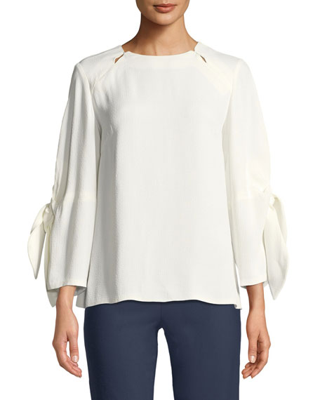 Lela Rose Bow-Tie-Sleeve Textured Blouse