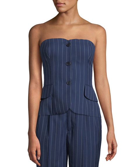 Ralph Lauren Collection Blanche Pinstriped Bustier Top and