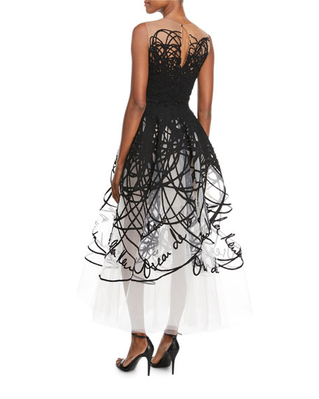 Illusion Scribble Tulle Midi Gown