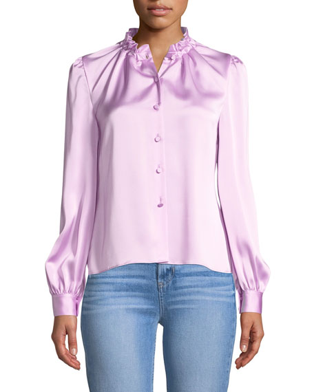 Cinched-Neck Long-Sleeve Satin Blouse