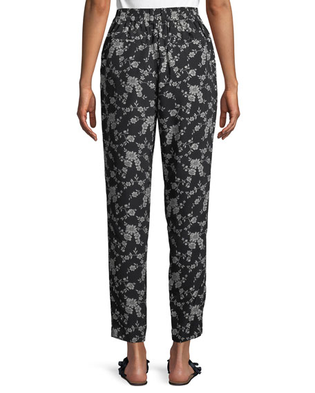 Image 3 of 3: Co Stovepipe Floral-Print Straight-Leg Gabardine Pants