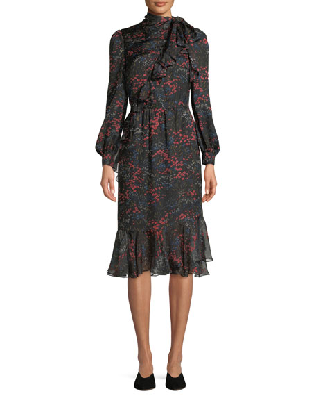 Co Long-Sleeve Floral-Print Silk Chiffon Dress w/ Asymmetric