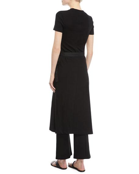 Rosetta Getty Crewneck Short-Sleeve Rib-Jersey Apron Dress
