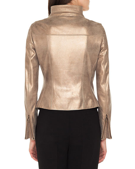 Ranka Zip-Front Metallic Lamb Suede Jacket