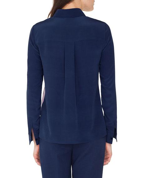 Akris Long-Sleeve Button-Down Silk Blouse w/ Racing Stripe