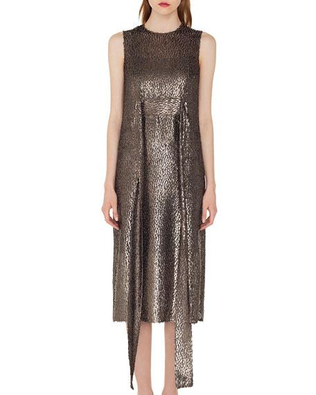Sleeveless Self-Belt A-Line Metallic Silk Devore Cocktail Dress