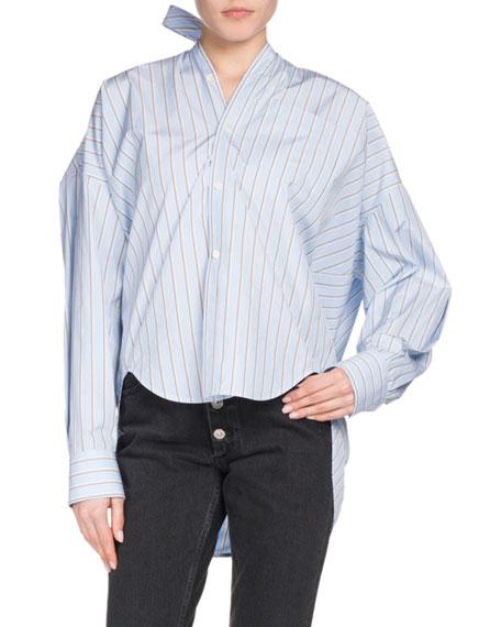 Balenciaga Button-Down Striped Cotton Swing Shirt with Logo & Tie Detail