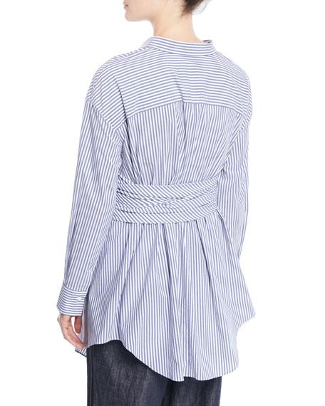 Button-Down Striped Cotton Poplin Blouse with Wrap Belt