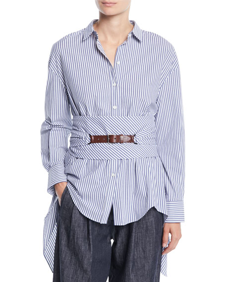 Brunello Cucinelli Button-Down Striped Cotton Poplin Blouse with