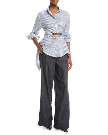 Wide-Leg Denim Pants with Monili Trim