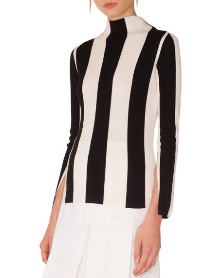 Akris punto Turtleneck Split-Sleeves Striped Wool Sweater