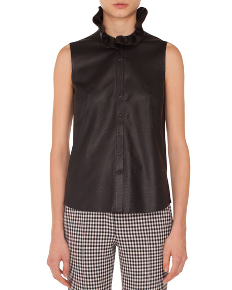 Sleeveless Ruffled-Turtleneck Button-Down Perforated Leather Top