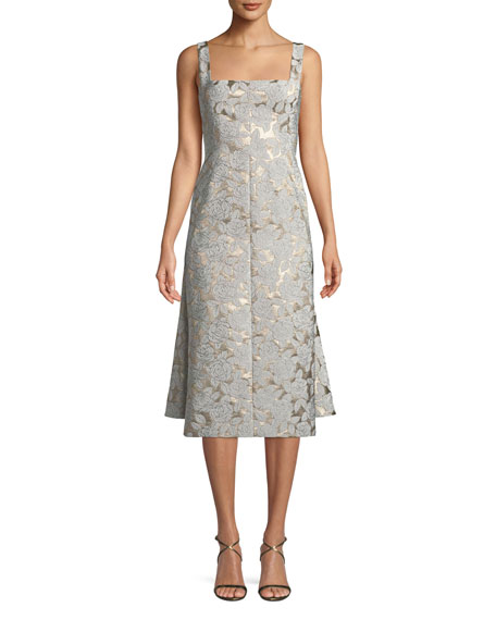 Square-Neck Sleeveless Floral-Jacquard Watteau-Back Midi Dress
