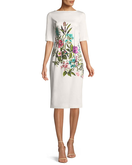 Lela Rose Claire Elbow-Sleeve Floral-Print Stretch-Cotton Dress