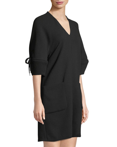 V-Neck Bow-Sleeve Wool Tunic Dress