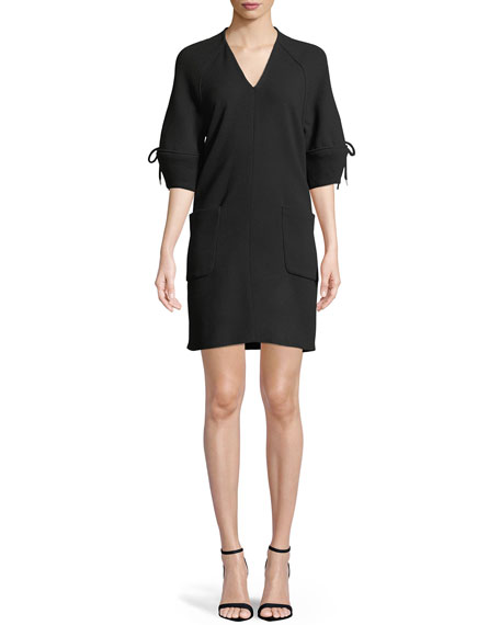 Lela Rose V-Neck Bow-Sleeve Wool Tunic Dress