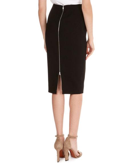 Crepe Back-Zip Pencil Skirt