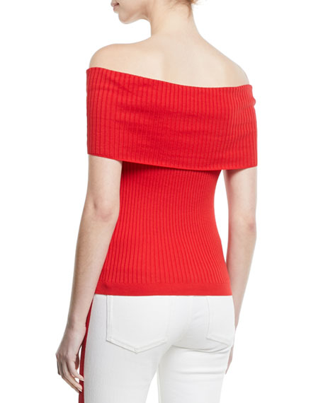 Ralph Lauren Collection Off-the-Shoulder Cotton Ribbed Top