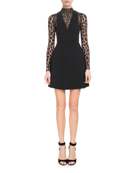 Long-Sleeve Lace Wool Crepe Cocktail Dress