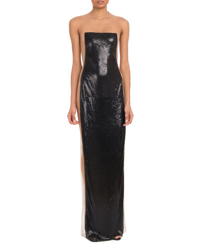 Strapless Nude Illusion Metal On Tulle Evening Gown