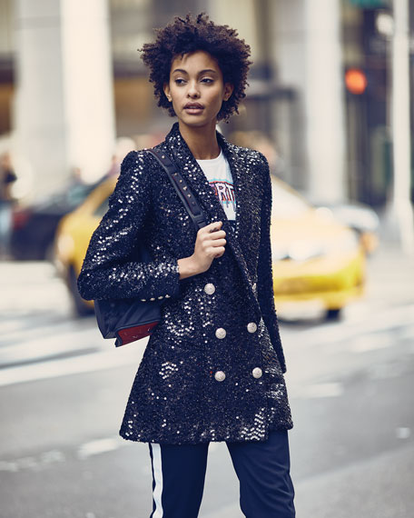 Double-Breasted Six-Button Paillettes Sequin Jacket