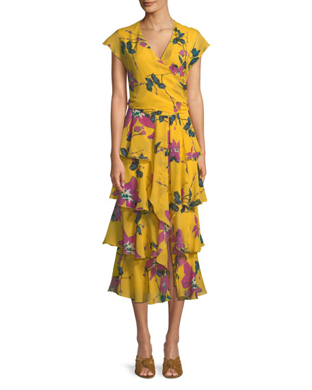 Cap-Sleeve Floral-Print Silk Georgette Faux-Wrap Tiered Ruffled Dress in Yellow
