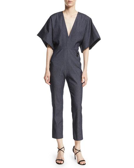 CUSHNIE Deep-V Kimono-Sleeve Skinny Denim Jumpsuit