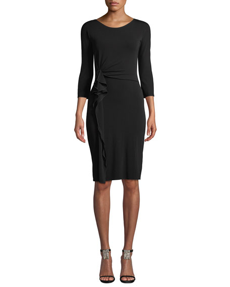 3/4-Sleeve Matte Jersey A-Line Dress w/ Ruching Detail