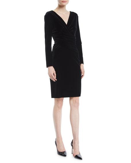 V-Neck Long-Sleeve Ruched Velvet Jersey Dress