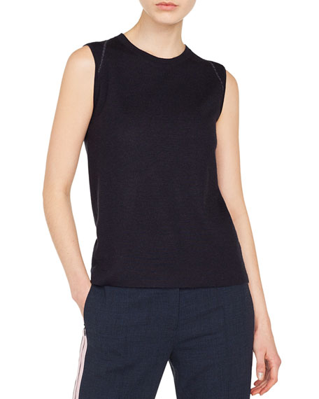 Jewel-Neck Cashmere-Silk Tank